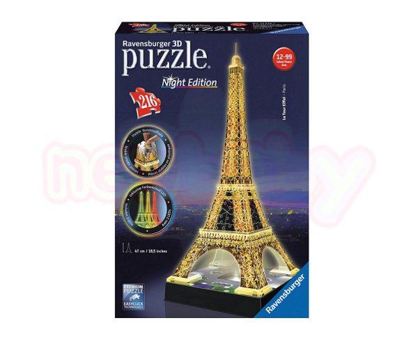 3D Пъзел Ravensburger светещ 216 ел. - Айфеловата кула Париж