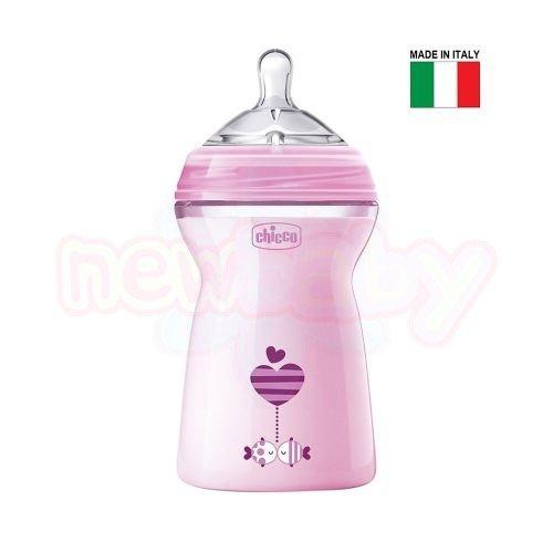 Бебешко шише със силиконов биберон Chicco Natural Feeling 330 мл