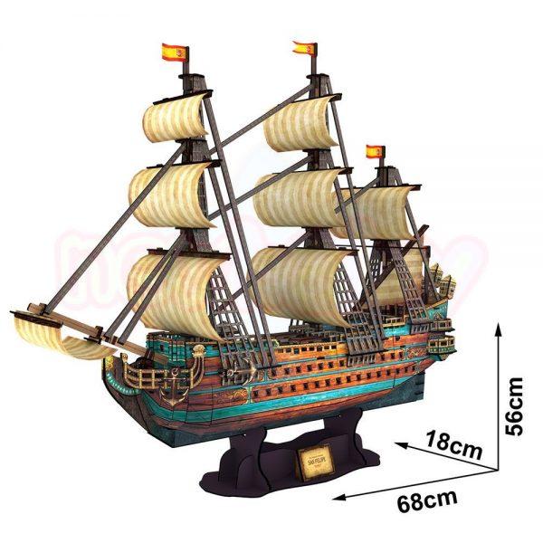 Пъзел 3D CubicFun Кораб The San Felipe 248 части-2