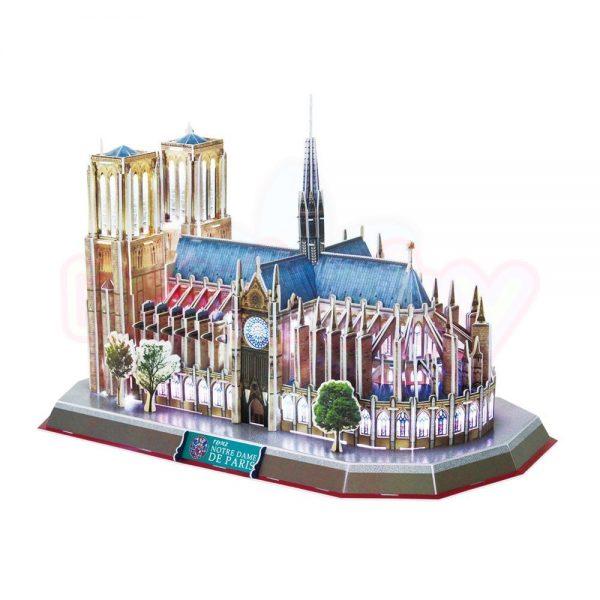 Пъзел 3D CubicFun Notre Dame de Paris 149 части с LED светлини