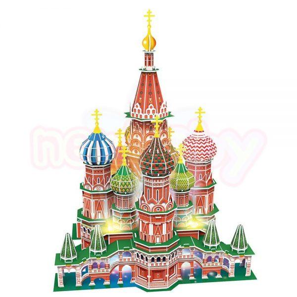 Пъзел 3D CubicFun St.Basil's Cathedral Russia 224 с LED светлини-1