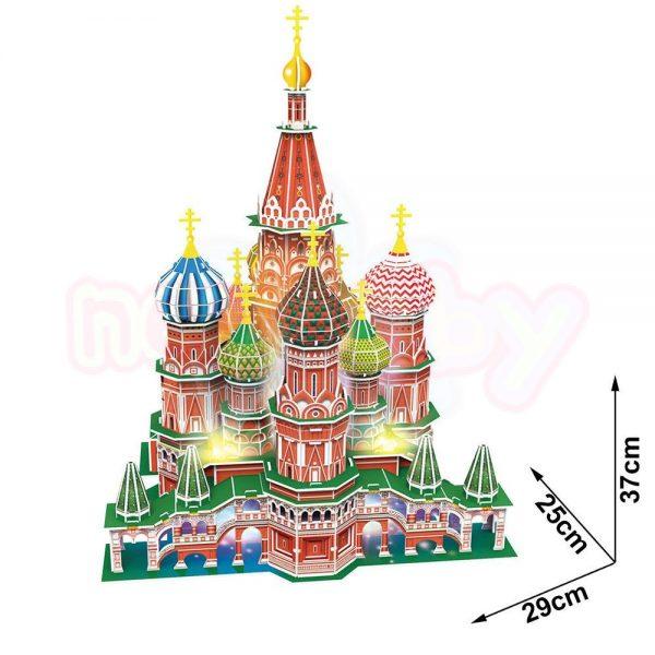 Пъзел 3D CubicFun St.Basil's Cathedral Russia 224 с LED светлини-2