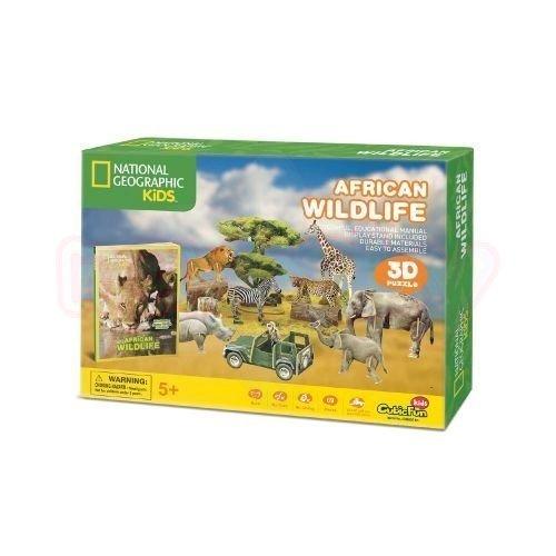 Пъзел 3D Дивият свят на Африка CubicFun National Geographic Kids 69 части