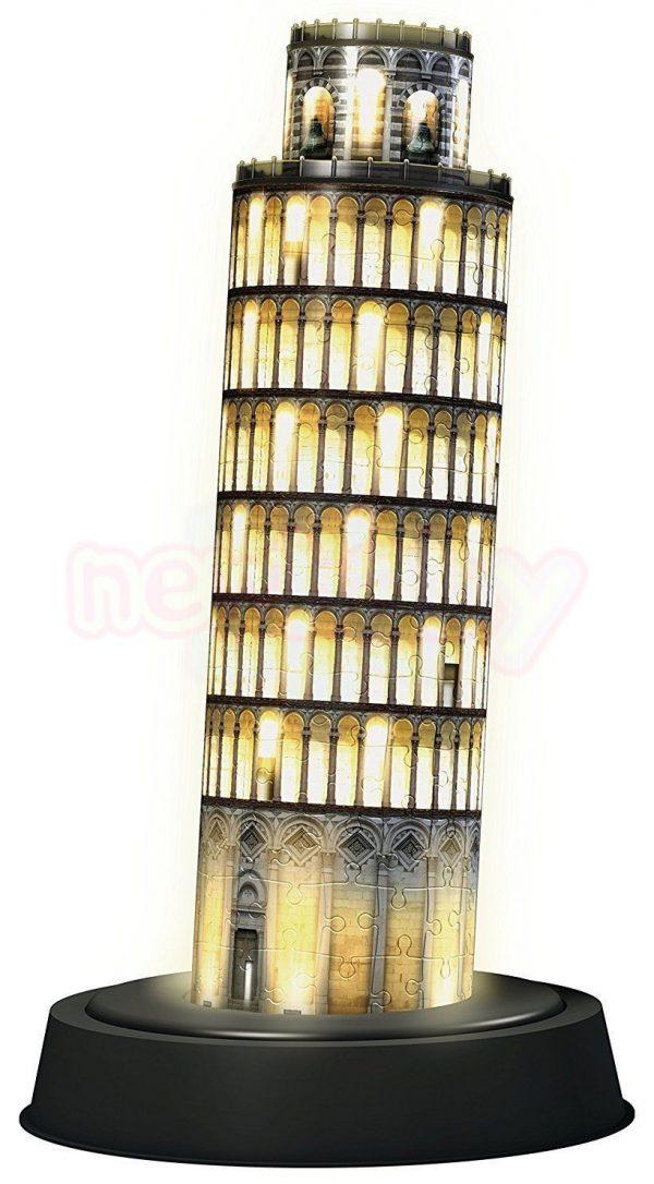 Пъзел 3D Ravensburger Наклонената кула в Пиза през нощта