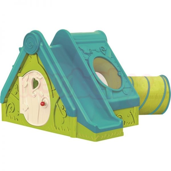 Пластмасова къща с пързалка и тунел Keter Funtivity зелено тюркоаз