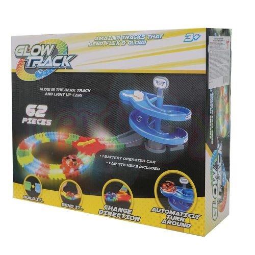 Светеща писта Glow Track с 62 части и 1 кола със спирала и обръщащ механизъм