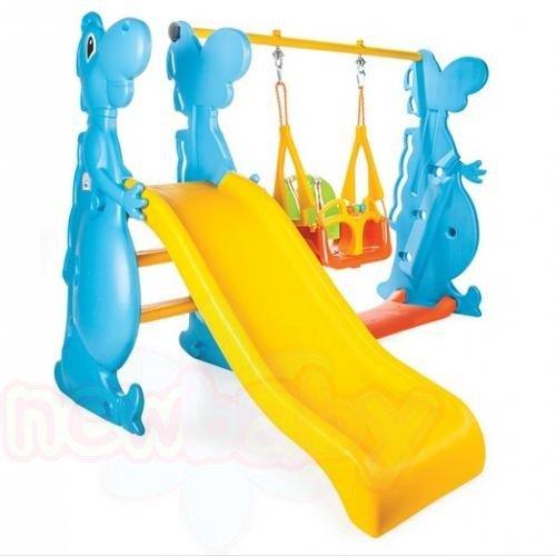 Детска пързалка с люлка Pilsan Dino