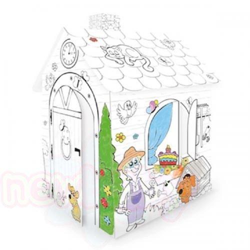 Къща за оцветяване от картон Mochtoys