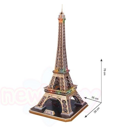 3D Пъзел с LED светлини CubicFun EIFFEL TOWER