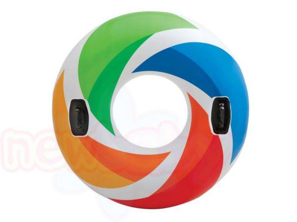 Детски голям надуваем пояс с дръжки INTEX Color Whirl