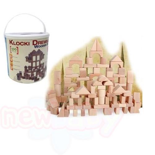 Конструктор с дървени блокчета natural 100бр KN1