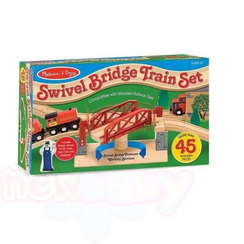 Дървена влакова композиция с мост Melissa and Doug 47 части